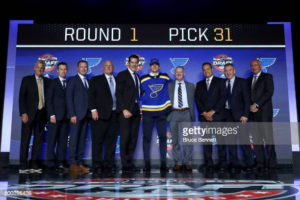 Klim Kostin poses for photos after being selected 31st overall by the St Louis Blues during the 2017 NHL Draft at the United Center on June 23 2017...