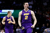 Klint Carlson of the Northern Iowa Panthers celebrates in the first half against the Texas Longhorns during the first round of the 2016 NCAA Men's...