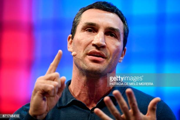 Klitschko Ventures' chief executive officer and boxing legend Wladimir Klitschko gives an interview during the 2017 Web Summit in Lisbon on November...