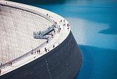 Concrete dam with skywalk platform in an Austrian valley Malta.