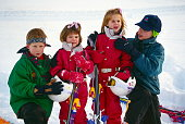 Klosters Switzerland Prince William Helping His Cousin Princess Beatrice With The Collar Of Her Ski Suit As They Pose With Prince Harry And Princess...