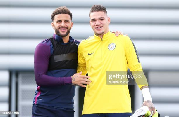 Klye Walker and Ederson pose for a photo during training at Manchester City Football Academy on August 24 2017 in Manchester England