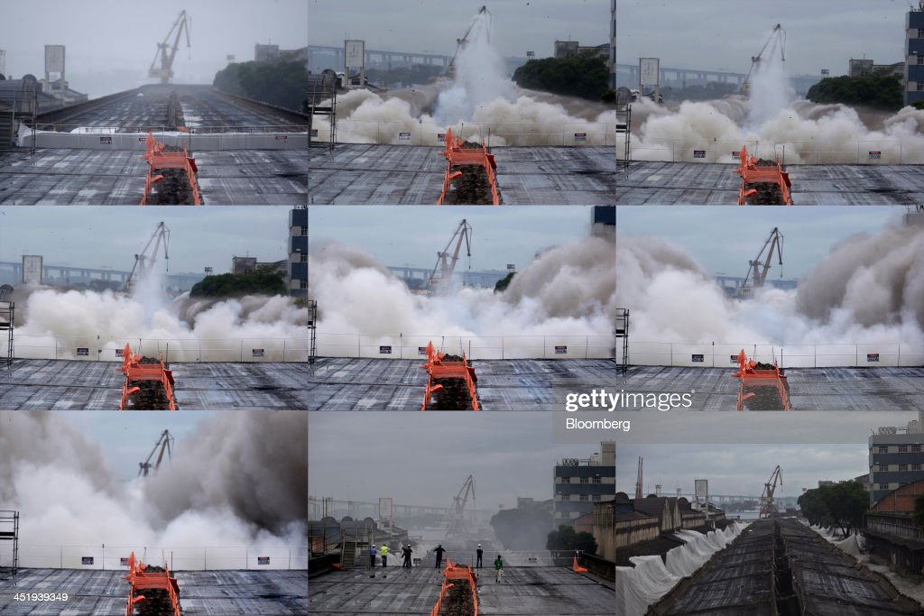 A 5 km long portion of a highway is depicted in a 9 picture sequence as it is demolished in Rio de Janeiro's port area in Rio de Janeiro, Brazil, on Saturday, Nov. 23, 2013. The government will auction three highways before year-end, Finance Minister Guido Mantega told reporters Nov. 22 in Brasilia. Photographer: Dado Galdieri/Bloomberg via Getty Images