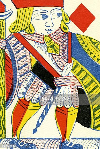 Knave / Jack of Diamonds 18th century English playing card by Bamford c 1750