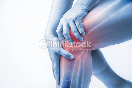 knee injury in humans .knee pain,joint pains people medical, mono tone highlight at knee : Stock Photo