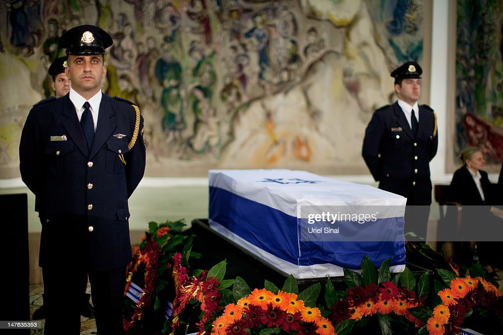 Knesset honor guards guard the coffin of former Israeli Prime Minister Yitzhak Shamir before his burial at the Knesset on July 2 2012 in Jerusalem...