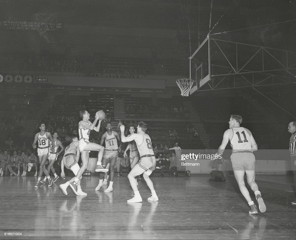 Knick Loses Knack New York New York High scoring Carl Braun of Knicks leaps high for layup which he missed in first half of Garden playoff with...
