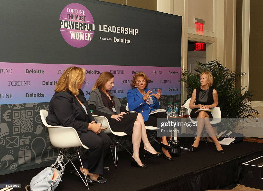 SKD Knickerbocker founder Hilary Rosen, Founding Principal at The Ashcroft Group Juleanna Glover, owner of Liz Robbins Associates, Liz Robbins and Co-Anchor and Managing Editor at PBS NewsHour Judy Woodruff speak onstage at the 'Leadership: Everything you want to know about D.C. but no one will tell you' session during FORTUNE Most Powerful Women Summit on October 15, 2013 in Washington, DC.