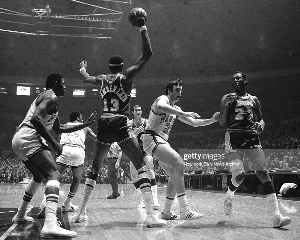 N Y Knicks center Willis Reed guards Los Angeles Lakers cen