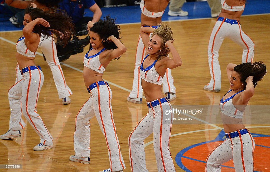 Knicks City Dancers perform at the Milwaukee Bucks vs New York Knicks game at Madison Square Garden on April 5, 2013 in New York City.