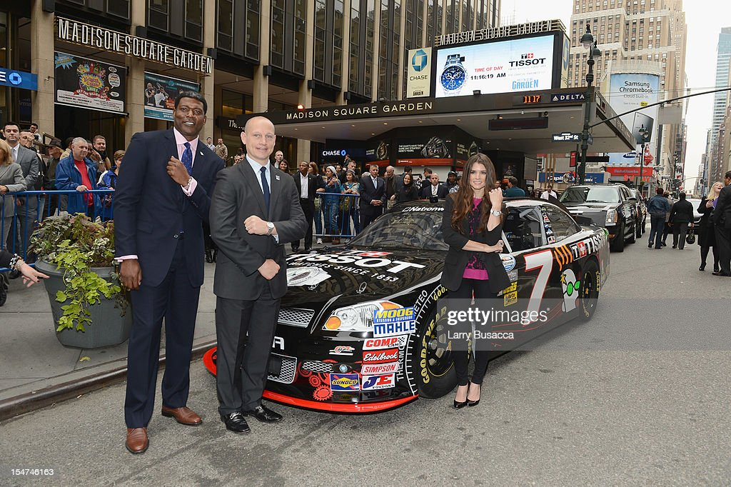 Knicks Great Larry Johnson, Rangers Legend <a gi-track='captionPersonalityLinkClicked' href=/galleries/search?phrase=Adam+Graves&family=editorial&specificpeople=216404 ng-click='$event.stopPropagation()'>Adam Graves</a> and NASCAR Star <a gi-track='captionPersonalityLinkClicked' href=/galleries/search?phrase=Danica+Patrick&family=editorial&specificpeople=183352 ng-click='$event.stopPropagation()'>Danica Patrick</a> Join Tissot Swiss Watches To Unveil The Brand's New Lobby Clocks on October 25, 2012 in New York City.