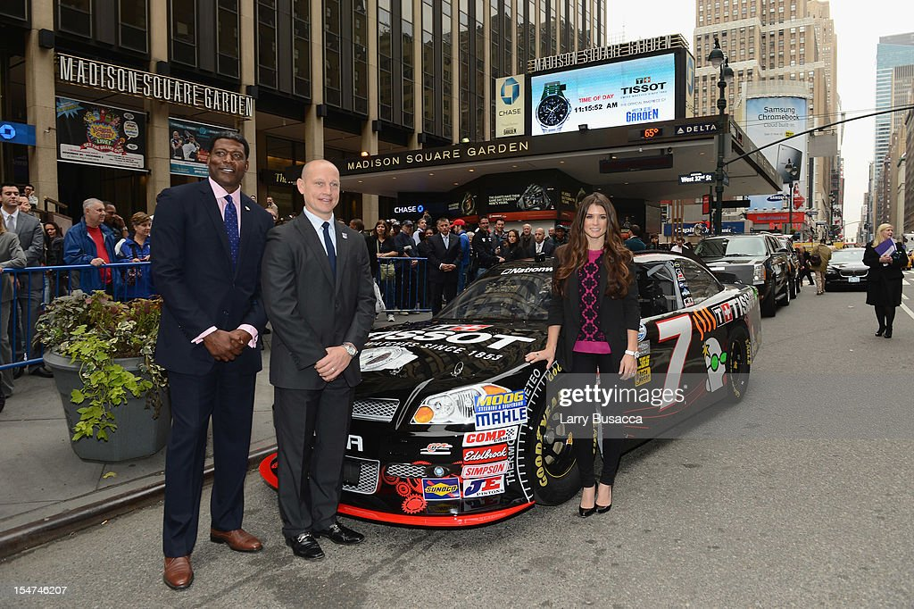 Knicks Great Larry Johnson, Rangers Legend Adam Graves and NASCAR Star Danica Patrick Join Tissot Swiss Watches To Unveil The Brand's New Lobby Clocks on October 25, 2012 in New York City.