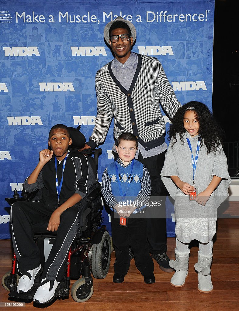 NY Knicks' <a gi-track='captionPersonalityLinkClicked' href=/galleries/search?phrase=Iman+Shumpert&family=editorial&specificpeople=5042486 ng-click='$event.stopPropagation()'>Iman Shumpert</a> attends MDA's 2013 Muscle Team Kick Off Event at The Lighthouse at Chelsea Piers on December 10, 2012 in New York City.