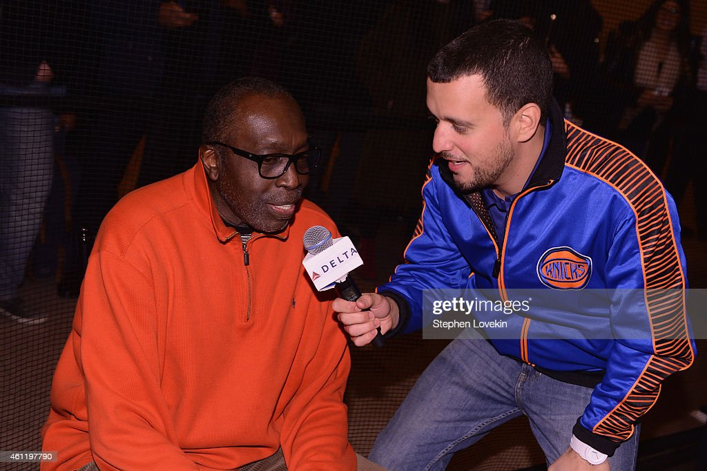 Knicks Legend Earl Monroe attends as Delta Air Lines hosts the 'Free Throw To Heathrow' event celebrating the New York Knicks return to the O2 Arena...
