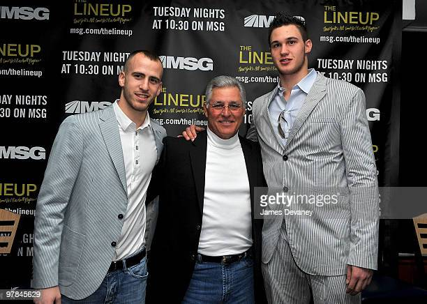 Knicks player Sergio Rodriguez Bucky Dent and Knicks player Danilo Gallinari attend launch party for the MSG Network premiere of 'The Lineup New...