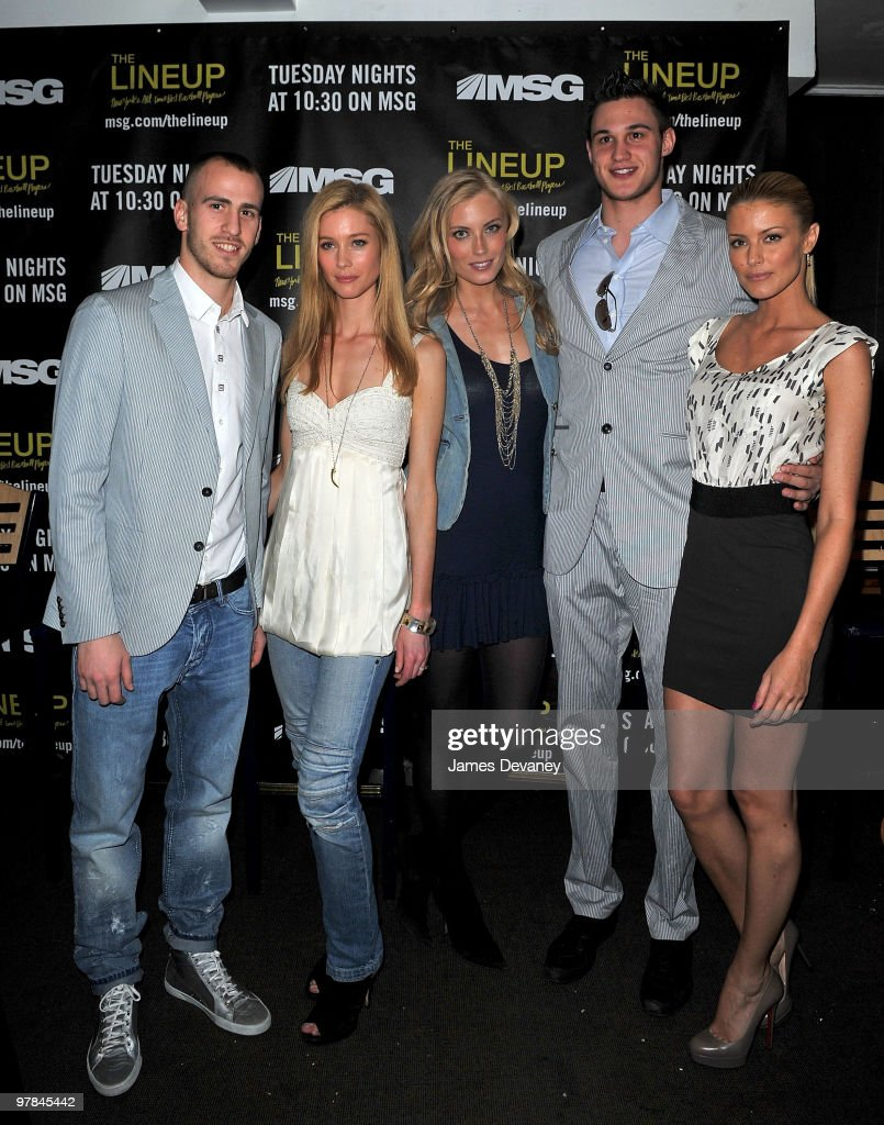 Knicks player Sergio Rodriguez Camilla Thorsson Jennifer Ohlsson Knicks player Danilo Gallinari and Paige Butcher attend launch party for the MSG...