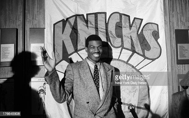 Knicks' shelved captain Bernard King ponders question during Garden news conference concerning rehabilitation of his injured knee King said he's...