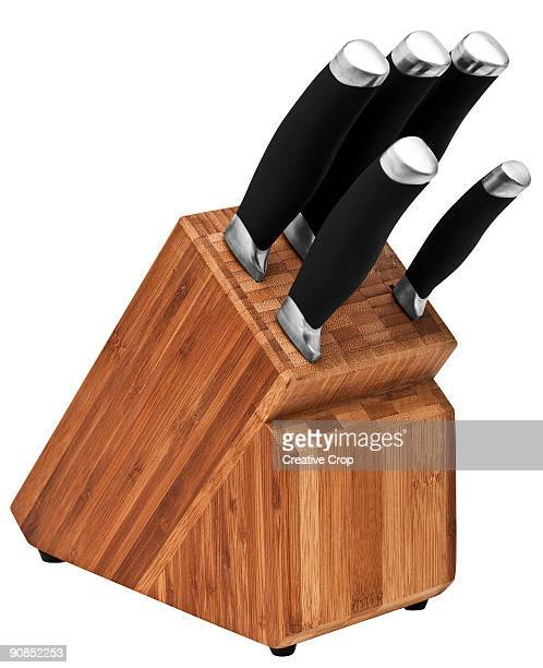 Knife block containing five knives