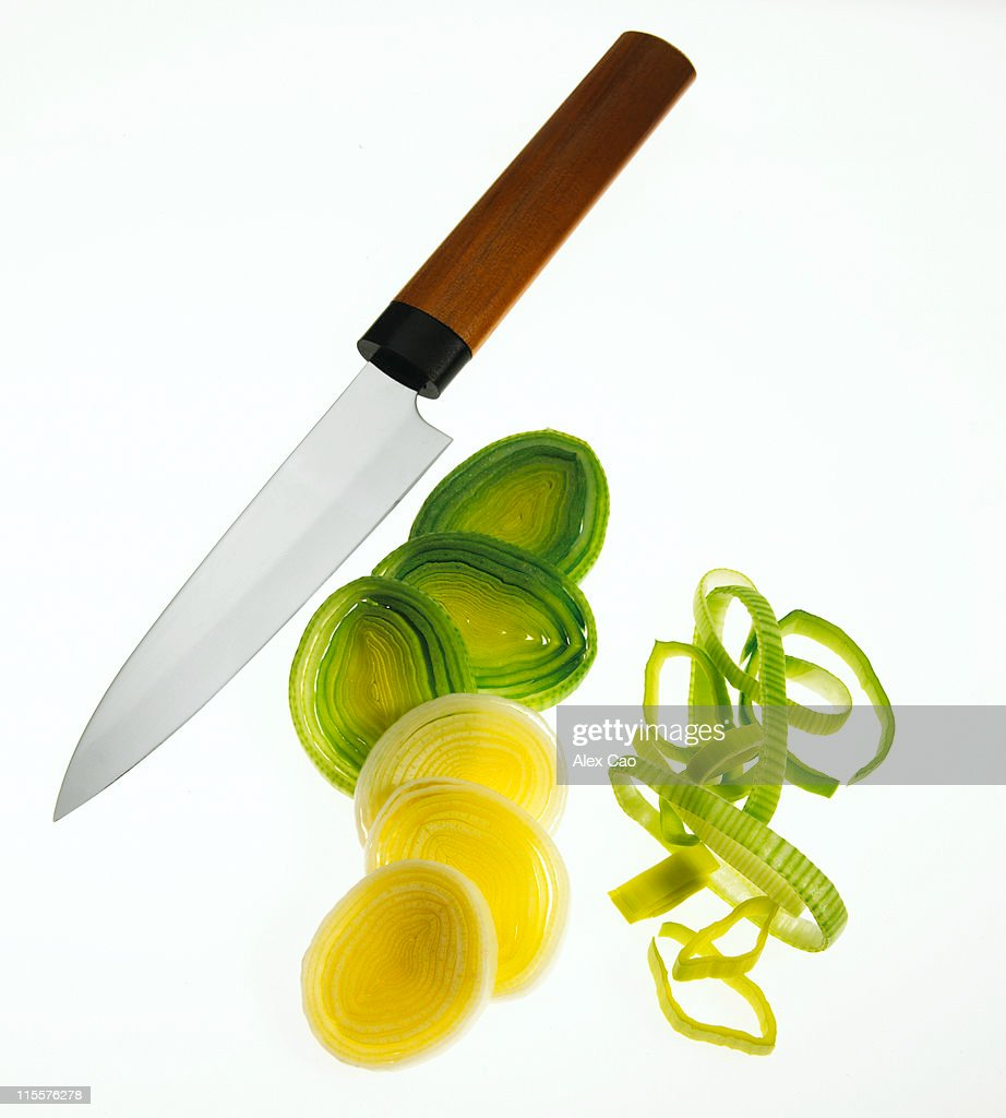 Knife with Sliced leeks : Stock Photo