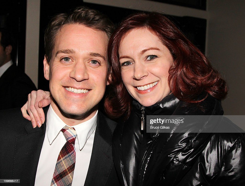 T.R. Knight and Carrie Preston pose at the after party on opening night of 'Cat On A Hot Tin Roof' on Broadway at Chelsea Piers Lighthouse Pier 60 on January 17, 2013 in New York City.
