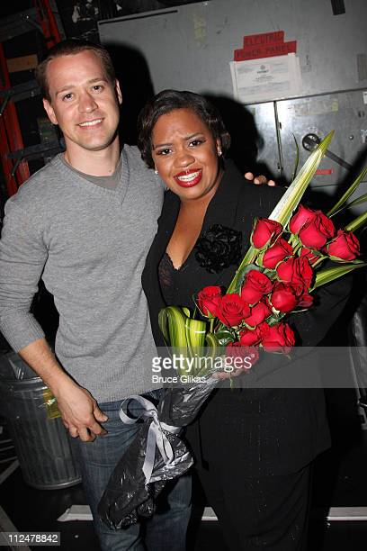 TR Knight and Chandra Wilson pose backstage following her debut performance in 'Chicago' on Broadway at The Ambassador Theater on June 8 2009 in New...