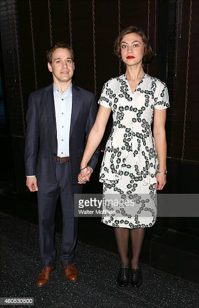 R Knight and Elvy Yost attend the Opening Night After Party for 'Pocatello' at Heartland Brewery on December 15 2014 in New York City