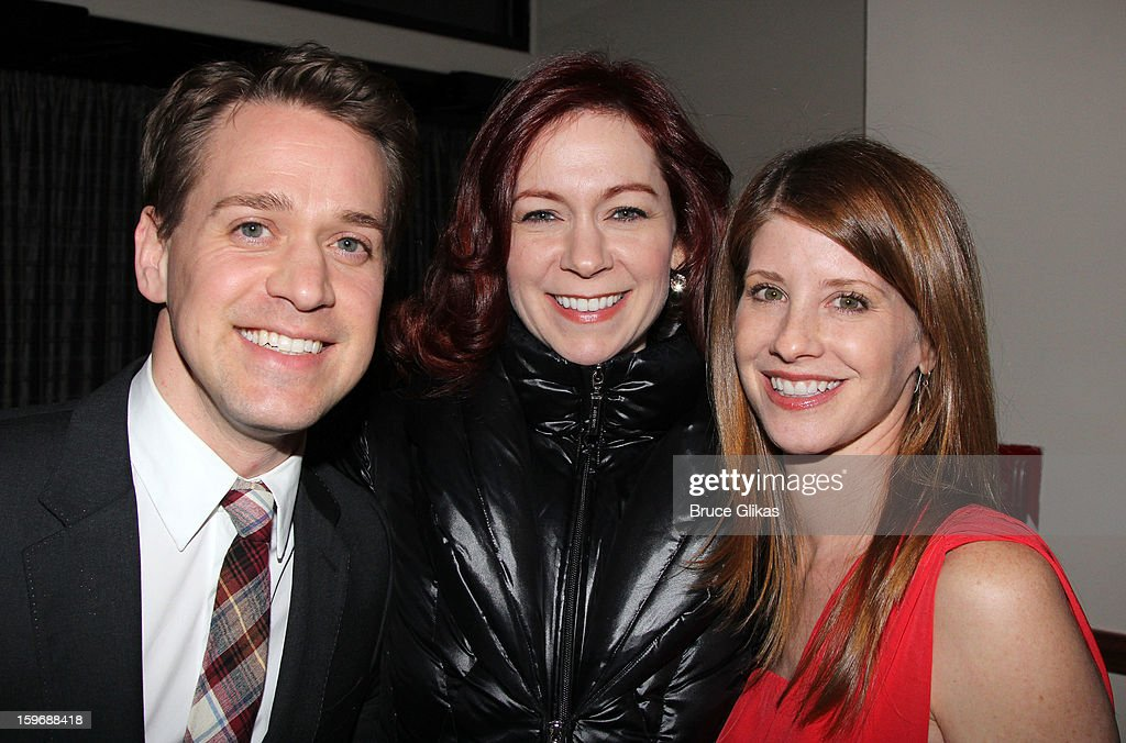 T.R. Knight, Carrie Preston and Mandy Siegfried pose at the after party on opening night of 'Cat On A Hot Tin Roof' on Broadway at Chelsea Piers Lighthouse Pier 60 on January 17, 2013 in New York City.