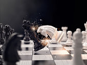 Knight chess attack to win the race. Concept for business strategy