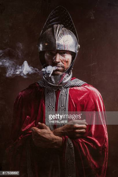 Knight having a cigarette