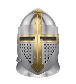 Knight Helmet isolated on white background. 3D render