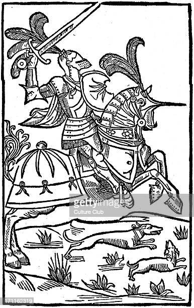 Knight in armour illustration from the chivalric romance 'Épistre du roy a Hector de Troye' in Jean Lemaire 's 'Illustrations de Gaule' Lyon 1528