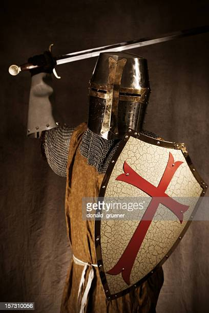 Knight or Crusader Attacking with Sword and Shield