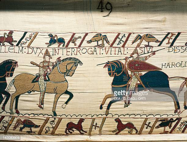 Knight Vital informs William on the approaching of Harold's army detail of Queen Mathilda's Tapestry or Bayeux Tapestry depicting Norman conquest of...