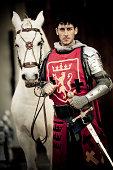 knight with white stallion