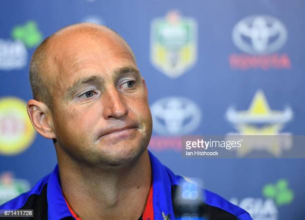 Knights coach Nathan Brown looks on at the post match media conference at the end of during the round eight NRL match between the North Queensland...