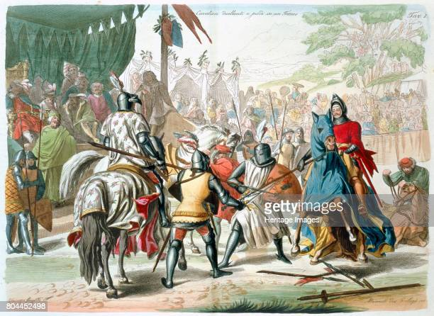 Knights duelling on foot in a tournament 19th century Plate 1 from The History of the Nations by Vincenzo Gazzotto Vincenzo Artist G Lago
