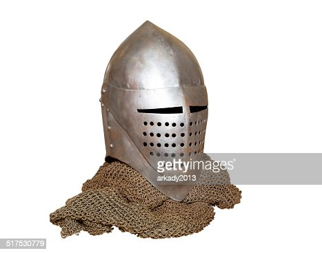 knight's helmet and chainmail : Stock Photo
