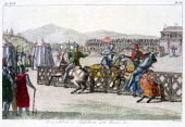 Knights jousting at a tournament 12th century The scene is set in England during the time of Henry II the first Plantagenet English king