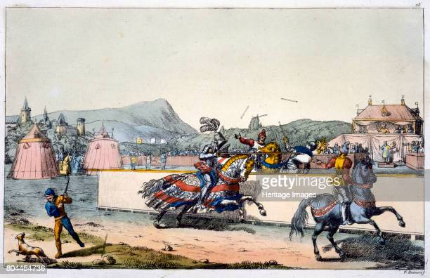 Knights jousting at a tournament 19th century Plate 15 from The History of the Nations Artist Unknown