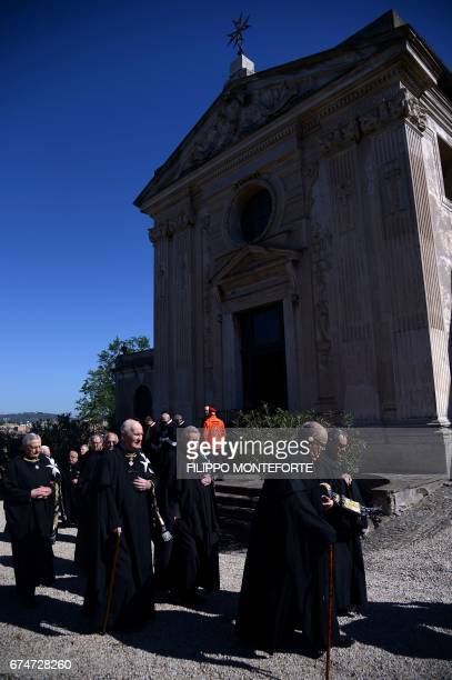 Knights of Malta walk in procession before the election of the new Grand Master on April 29 2017 at the Order's Villa Magistrale in Rome Knights of...