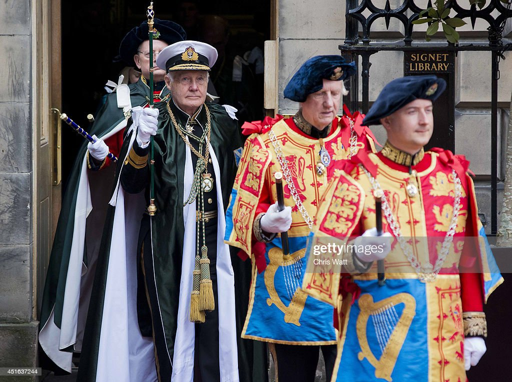 Knights of the Order of the Thistle process from the Signet Library during the Thistle Service at St Giles' Cathedral on July 3, 2014 in Edinburgh, Scotland. The Queen and The Duke of Edinburgh have spent the week in Scotland attending various events and staying at the Palace of Holyroodhouse. The visit comes before the referendum vote on the 18th September.