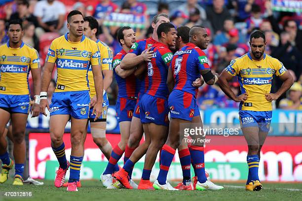 Knights players celebrate a goal during the round seven NRL match between the Newcastle Knights and the Parramatta Eels at Hunter Stadium on April 19...