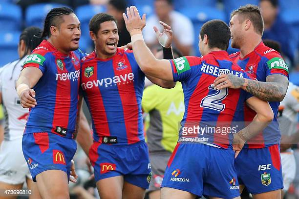 Knights players celebrate a try during the round 10 NRL match between the Newcastle Knights and the Wests Tigers at Hunter Stadium on May 17 2015 in...
