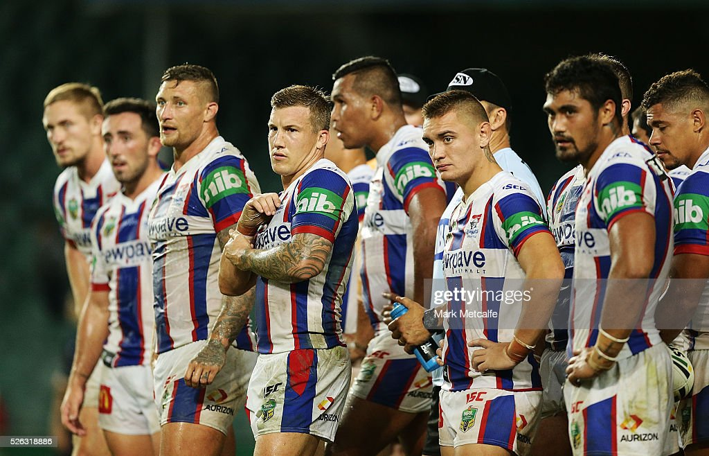 Knights players look dejected after conceding a try during the round nine NRL match between the Sydney Roosters and the Newcastle Knights at Allianz Stadium on April 30, 2016 in Sydney, Australia.