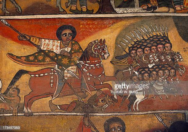 Knights with lances paintings in Debre Birhan Selassie coptic Church Gondar Ethiopia