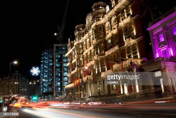 Knightsbridge high street, London, at night