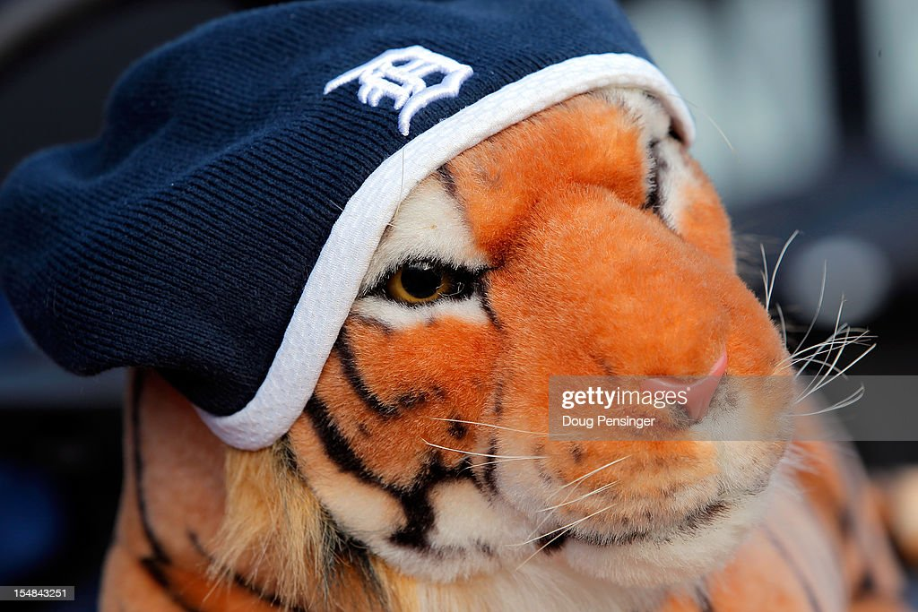 A knit Detroit Tigers hat is seem on a toy tiger prior to the Tigers hosting the San Francisco Giants during Game Three of the Major League Baseball World Series at Comerica Park on October 27, 2012 in Detroit, Michigan.
