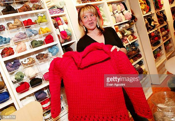 Knit New York owner Miriam Maltagliati poses at a knitting party hosted by IMG Models at Knit New York February 5 2004 in New York City
