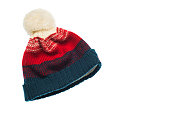 Knitted beanie isolated on wgite background