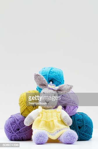 Knitted Cuddly Toy And Wool : Stock Photo